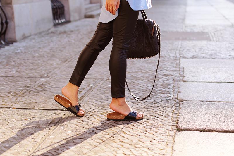 Birkenstock Outfit Lederleggings