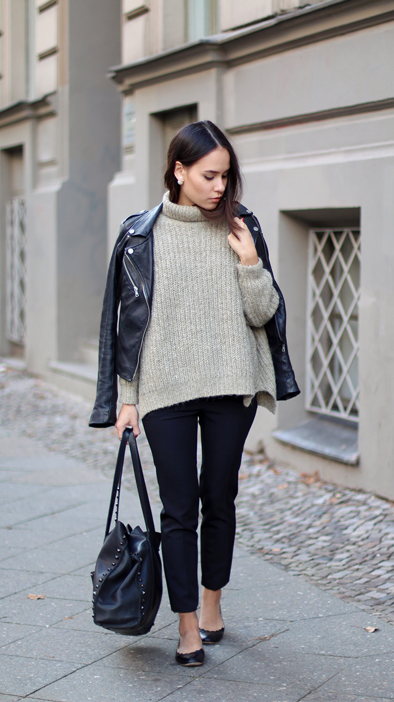 Leather jacket and turtleneck sweater / Lederjacke und Rollkragen-Pullover Outfit