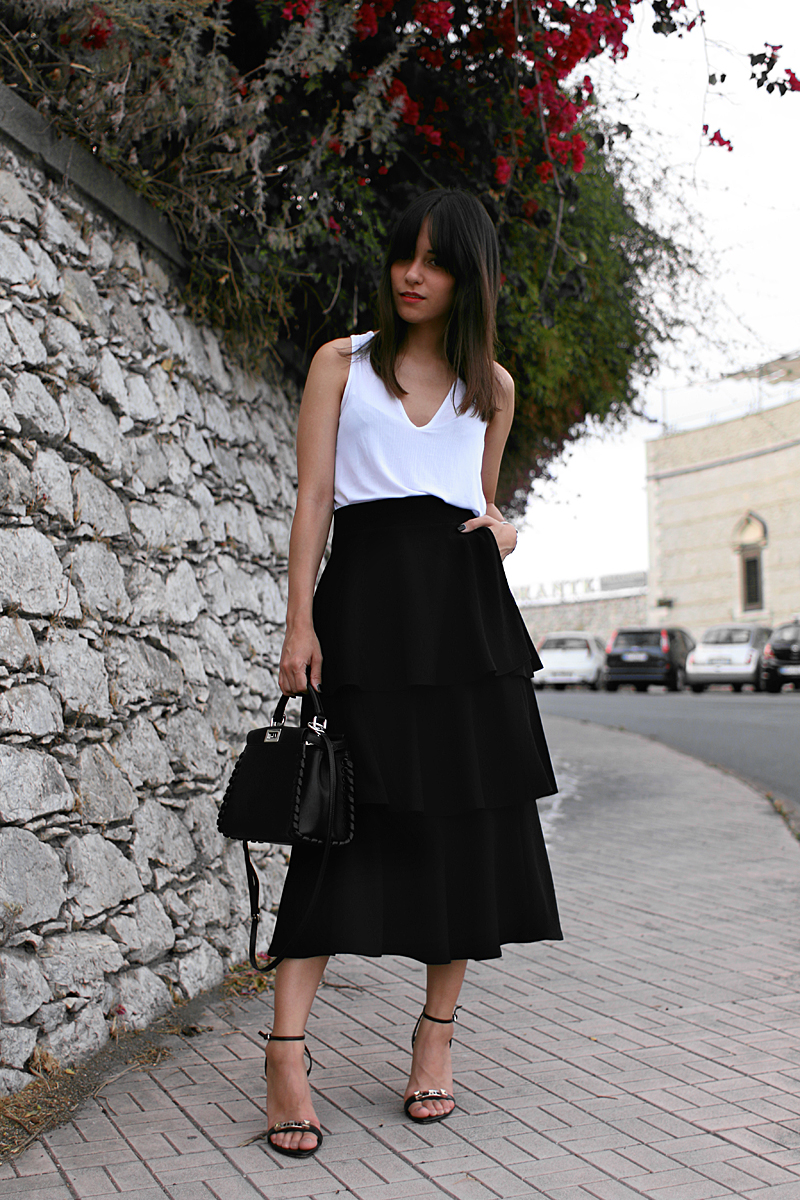 Nisi is wearing: Zara Ruffled skirt and white top, Fendi Mini Peekaboo, Proenza Schouler Heels, Silver Mesh Watch, Nars Red Square Lipstick