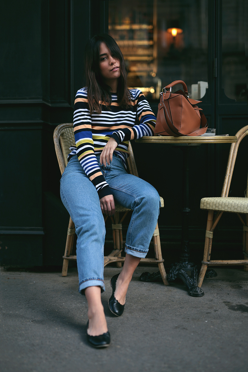 Nisi wearing Loewe Puzzle Bag, Chloé Lauren Flats, Monki Mom Jeans and Zara Striped Longsleeve