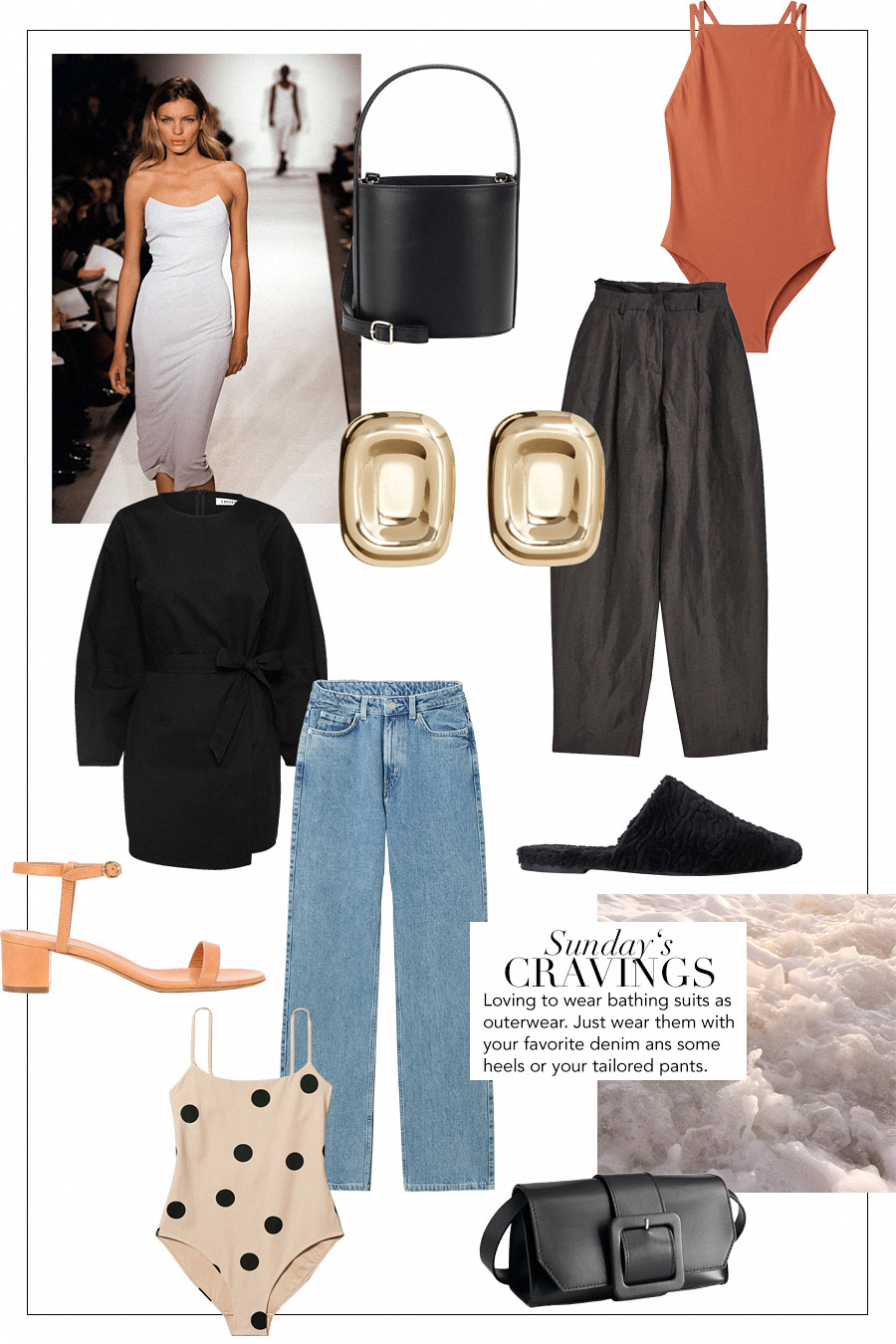 Mansur Gavriel sandals, Weekday Polka dot Swimsuit, Staud bucket bag, Mango Earrings, Topshop Pants, EDITED the label dress, Weekday Denim jeans, H&M Slipper, & Other Stories bag