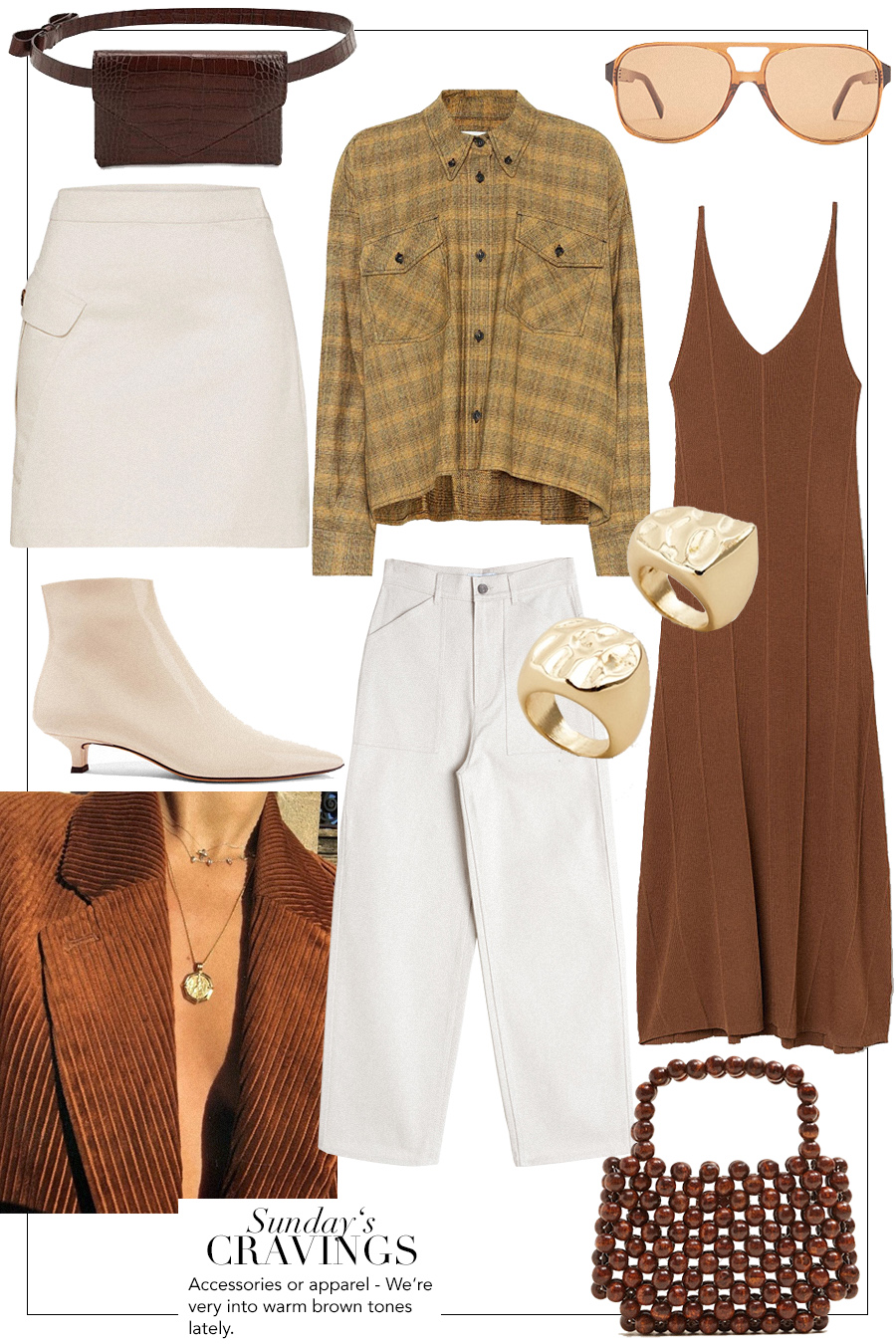 Céline Navigator Sunglasses, Micoli belt bag, Isabel Marant Étoile Checked cotton shirt, Edited White skirt, The Row Ankle boots, H&M Brown ripped dress, Mango chunky rings, & Other Stories White denim jeans, Mango Wooden pearls bag
