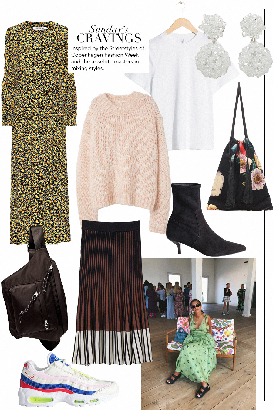 Attico Floral velvet pouch, Nike Air Max 95 SE sneakers, Calvin Klein Floral midi dress, H&M Mohair knit jumper, & Other Stories Basic t-shirt, Mango Beaded earrings, & Other Storis Suede sock boots, Stradivarius Belt bag, H&M. Knit skirt