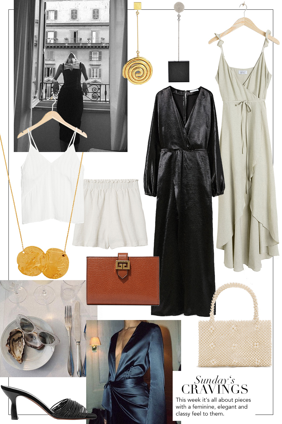 Jacquemus Le Carre earrings, Alighieri Dante and the Lion necklace, Givenchy purse, Neous Mules, pearl bag, satin dress, shorts, camisole, wrap dress