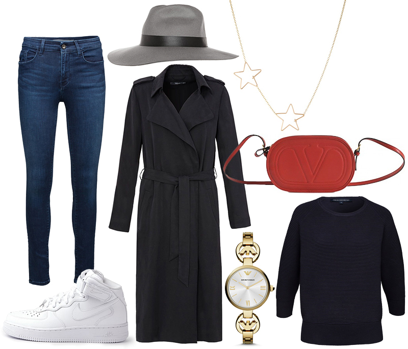 Fedora Hut, Trenchcoat, Valentino Logo-Go Bag, Nike Air Force, Emporio Armani Gianni AR1774, French Connection