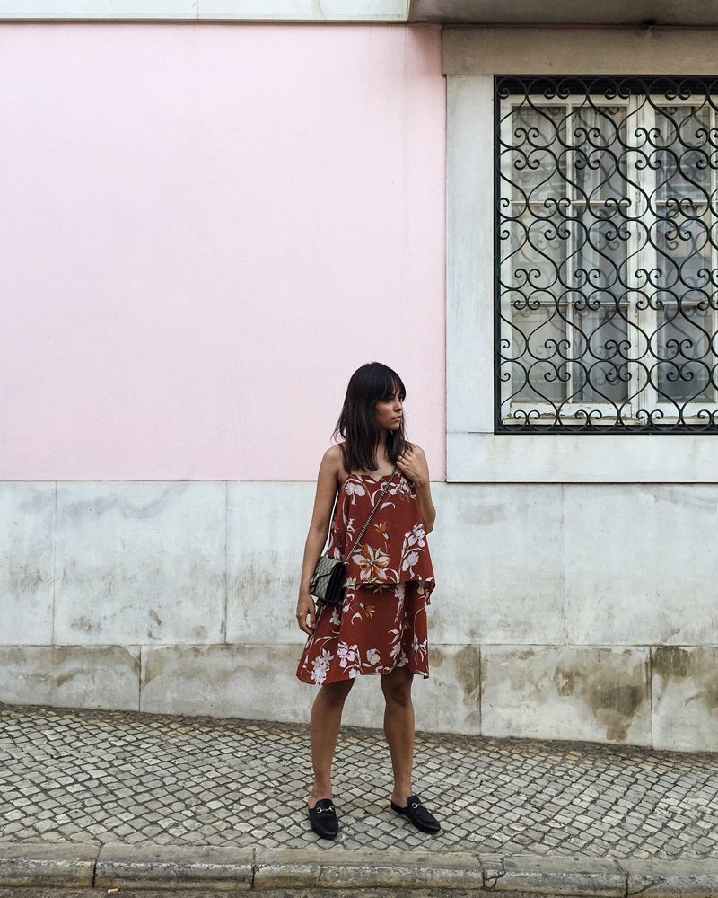 ca4849ed09b1a3 Our Summer Outfits in Lisbon: Wearing a flower printed dress, Gucci  Princetown slipper and